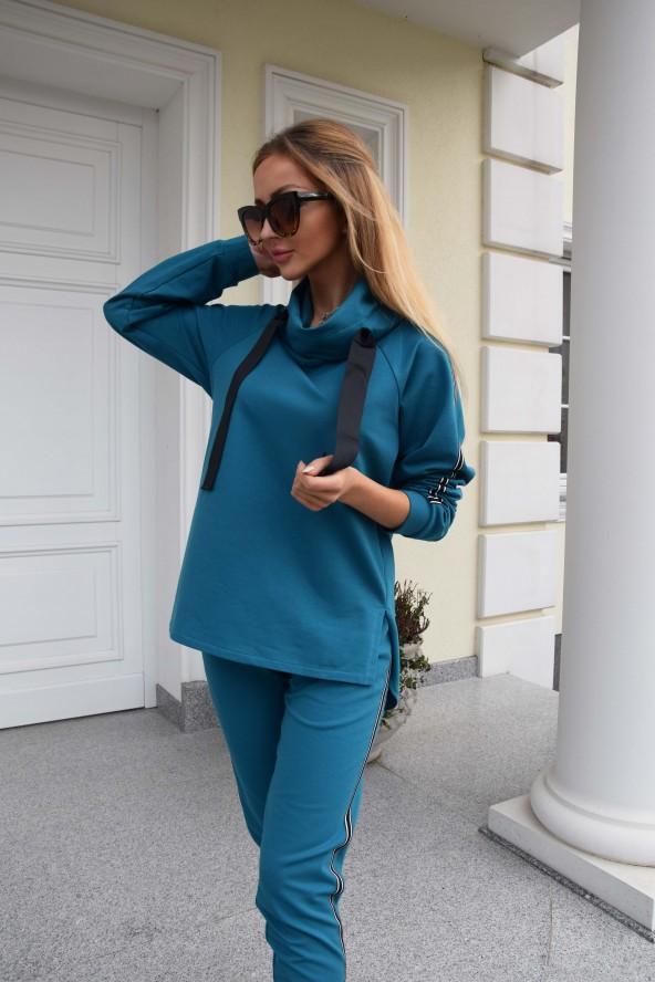 Bluza dresowa turkusowa -...